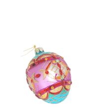 traumhaft verziertes Osterei aus Glas, pink mit Dekosteinen