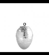 kleines Osterei mit Streifen Relief, glänzend silber