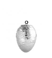 großes Osterei mit Streifen Relief, glänzend silber