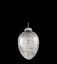 kleines, edles Osterei aus Glas in Antik-Optik glänzend silber