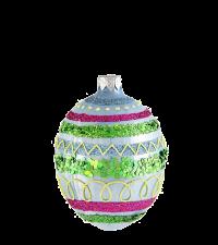 großes, buntes Osterei mit Glitter und Pailletten, hellblau, grün & pink