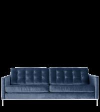 modernes Samtsofa mit Knopfheftung & Chromfüßen, Samt nachtblau