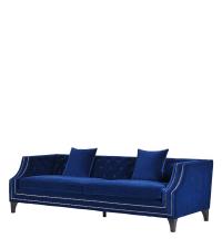 prachtvolles Samtsofa in edlem Blau mit Knopfheftung und metallischen Details
