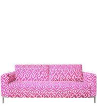 Zweier-Sofa im 70ies-Style mit Stoffbezug im geometrischem Retro-Muster, pink & hellgrau