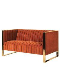 geripptes, orangenes 2-Sitzer-Sofa mit Metallrahmen in gold