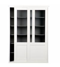moderner Schrank aus Kiefernholz mit Schiebetüren und Glasfront, weiß