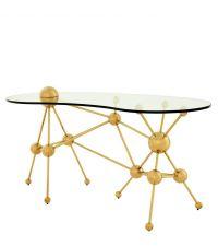moderner Schreibtisch mit goldenem Rahmen aus Kugeln & Glasplatte, Eichholtz