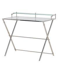 filigraner Schreibtisch mit edler Glasplatte und silbernen Tischfüßen