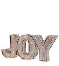 """hübsches Holzschild """"Joy"""" mit LED-Lichtern"""