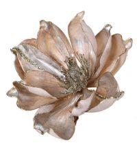 schimmernde Deko-Magnolie in taupe mit goldenen Blütenelementen und Befestigungs-Klammer