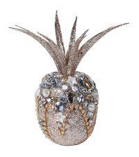 gold glitzernde Deko-Ananas besetzt mit verschiedenen, bunten Strasssteinen