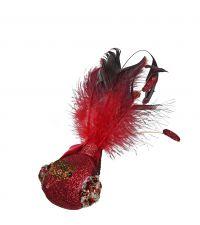 rot glitzernder Deko-Vogel mit bauschigen, rot-schwarzen Schwanzfedern und Befestigungsklammer