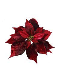 Weihnachtsstern auf Clip aus rot schimmerndem Samt