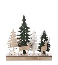weihnachtlicher Dekoaufsteller aus Holz mit LED-Lichtern und Hirsch- und Tannenmotiven