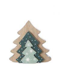 dreiteiliger, weihnachtlicher Dekoaufsteller aus Holz in Tannenbaum-Form mit Schneeflocken-Muster