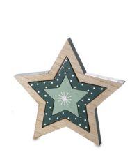 dreiteiliger, weihnachtlicher Dekoaufsteller aus Holz in Sternen-Form mit Schneeflocken-Muster