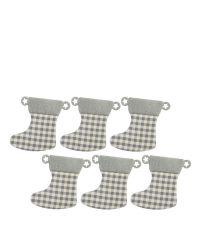 6er-Set grau-weiß karierte Mini-Hängestrümpfe mit Schlaufen im Sternen-Muster