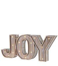 beleuchteter Schriftzug aus Holz 'Joy' mit LED-Lichtern