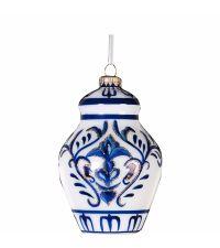 blau-weißer Weihnachtsbaum-Anhänger in Urnenform
