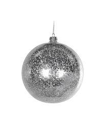 große Weihnachtskugel mit grobem, silber schimmerndem Glitzer