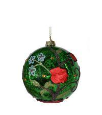 dunkelgrün schimmernde Weihnachtskugel mit bunt glitzerndem Blumen-Muster und Blumenstickerei