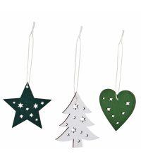 3er-Set grüne und weiße Holzhänger in Herz-, Tannen- und Sternform mit ausgestanztem Sternen-Muster
