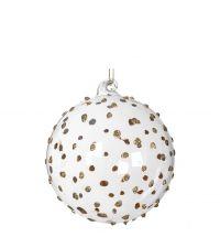 transparente Weihnachtskugel aus Glas verziert mit goldenen Glitterpunkten