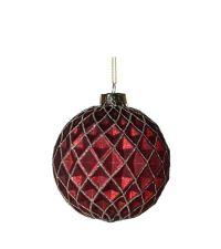 matt rote Weihnachtskugel mit Rautenmuster & Glitterverzierung