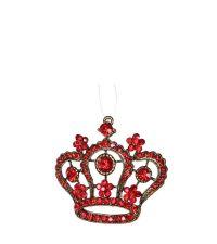 rot schimmernder Kronen-Weihnachtsanhänger mit Glitzersteinen
