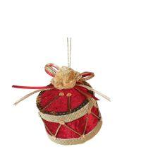 hängende, rot schimmernde Deko-Trommel aus Samt mit goldenen Details, Pailletten und Glittersteinen