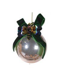 goldene Glaskugel mit große, dunkelgrüner Samtschleife
