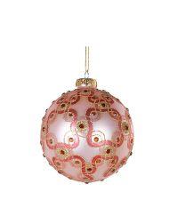 Weihnachtskugel mit geometrischem Kreismuster & Dekosteinen, rosa