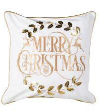 weihnachtliche Kissenhülle Merry Christmas mit goldener Verzierungen und Einfassung