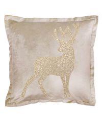 beige, elegante weihnachtliche Kissenhülle aus Samt mit Stehsaum & Hirsch-Motiv aus funkelnden Perlen, beige