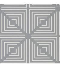 graue Tapete mit weißem geometrischen Muster, Vliestapete grau