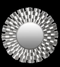 moderner runder Spiegel mit auffälligem Rahmen metallisch silber