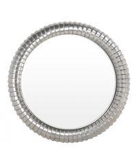 runder Wandspiegel mit wirbeligem Rahmen silber