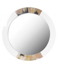 runder Wandspiegel mit weißem Hochglanzrahmen mit Hornverzierung