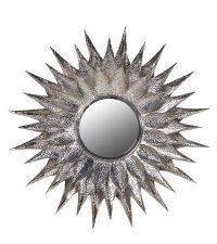 silberner Wandspiegel mit sonnenförmigem Rahmen
