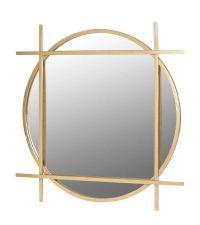 runder, goldener Wandspiegel mit eckiger Fassung
