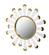 Runder Wandspiegel mit goldenem Rahmen und goldsilbernen Plättchen