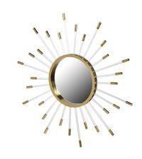 runder Wandspiegel mit goldenem Rahmen und goldsilbernen Strahlen
