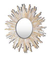 Runder Wandspiegel mit gold getöntem Strahlenrahmen aus Spiegelglas
