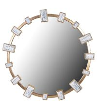runder Wandspiegel mit weißen, unterschiedlich großen Marmorplättchen und goldenem Rahmen