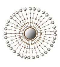 edler Wandspiegel mit runden Spiegelplättchen, gold