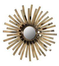 sonnenförmiger Wandspiegel mit bronzefarbenen Elementen