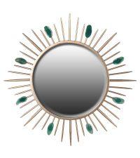 runder Wandspiegel mit goldenen Strahlen und grünen Steinen