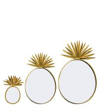 Rundes Wandspiegel 3er-Set in Ananas-Form in Gold
