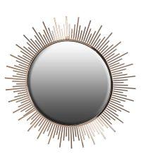 runder Wandspiegel in Sonnenform, bronze