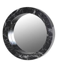 runder Wandspiegel in Marmor-Optik, schwarz